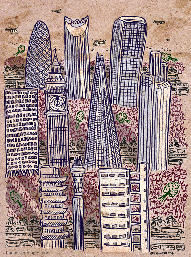 illustration of London architecture