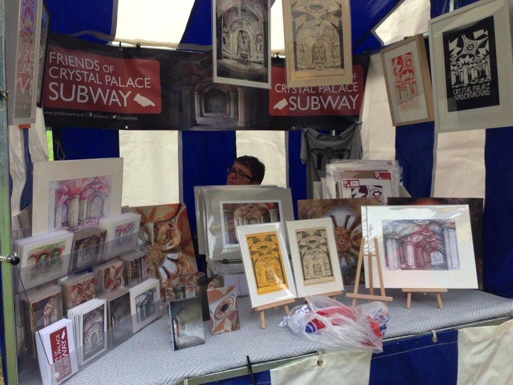 Market stall selling art