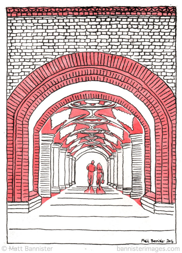 Art work showing the Crystal Palace Victorian subway