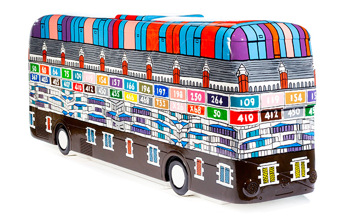 colourful bus sculpture