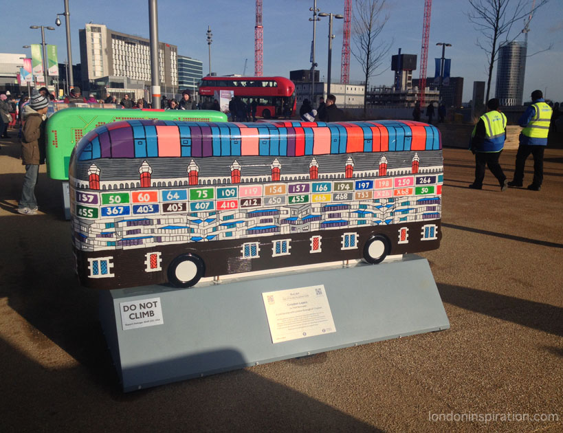 bus sculptures at the Olympic Park
