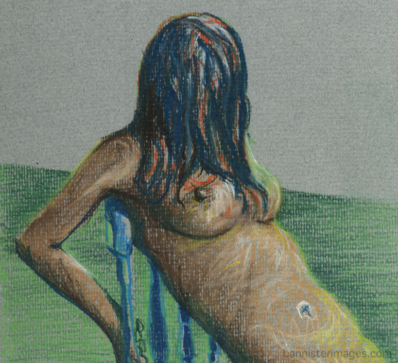 pastel drawing of a nude woman