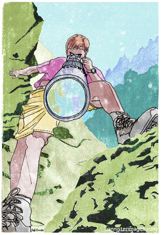 illustration of man climbing with a camera