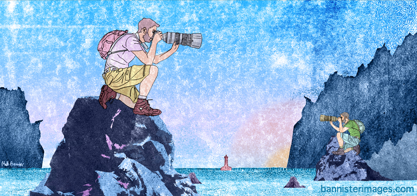 Illustration of two cameramen