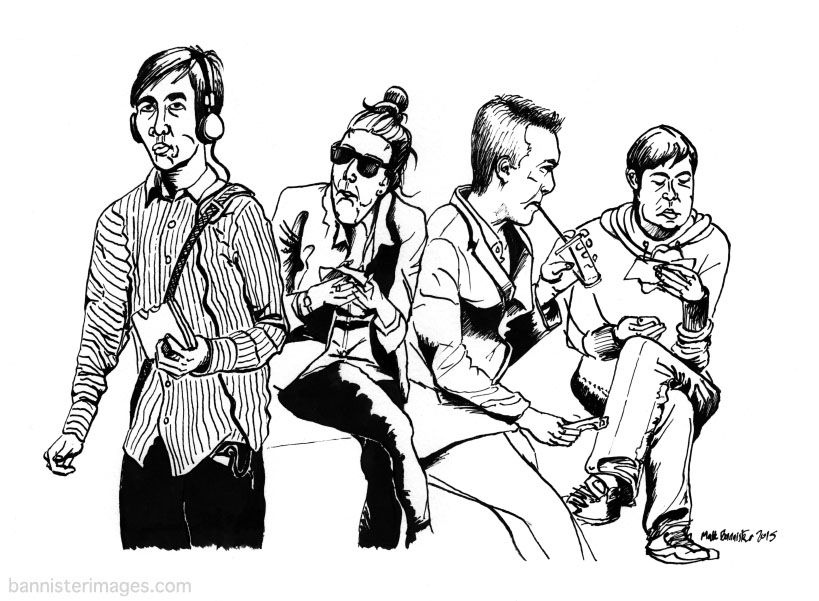 drawing of people eating