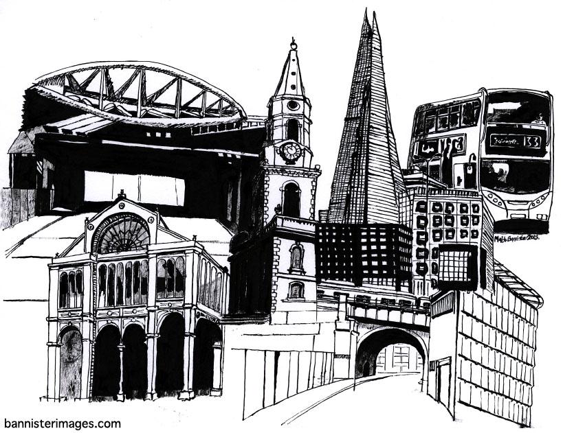 drawing of Borough High Street