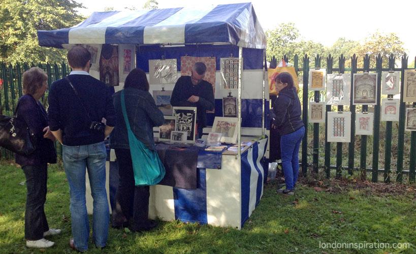 stall selling artwork