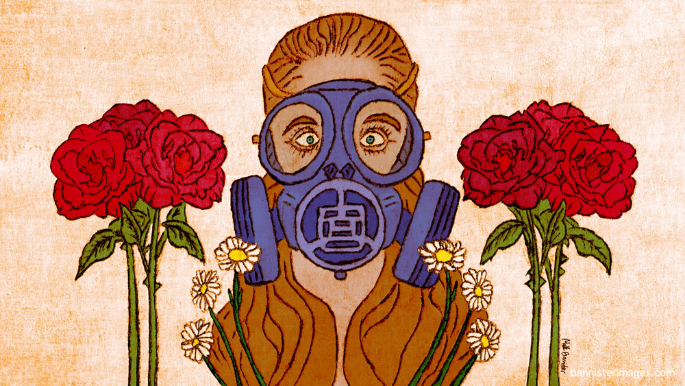 Illustration of a girl in a breathing mask with flowers