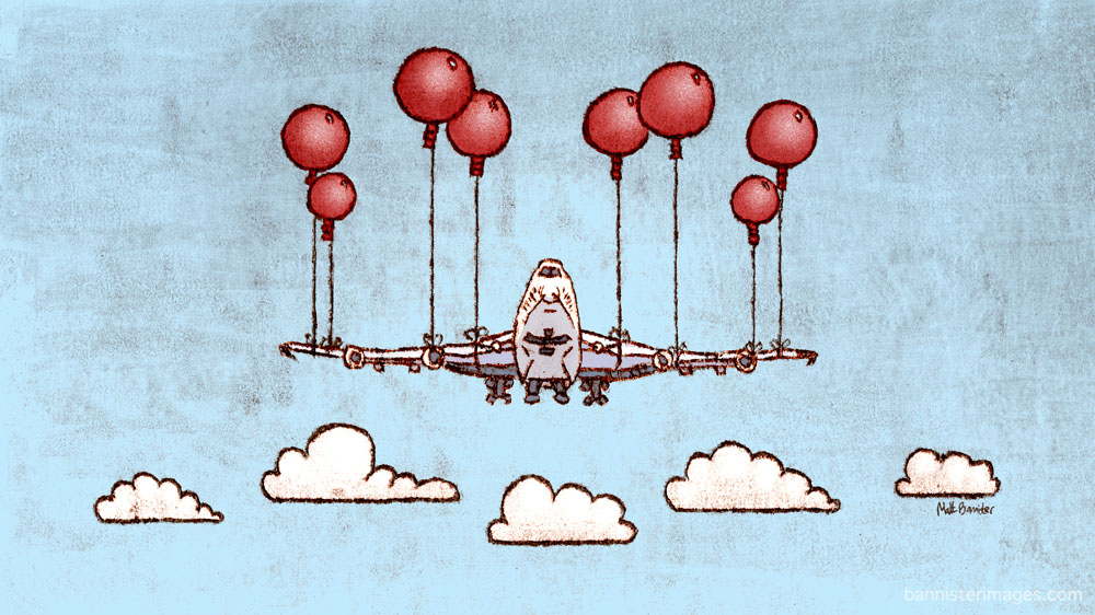 Illustration of a jumbo jet with balloons