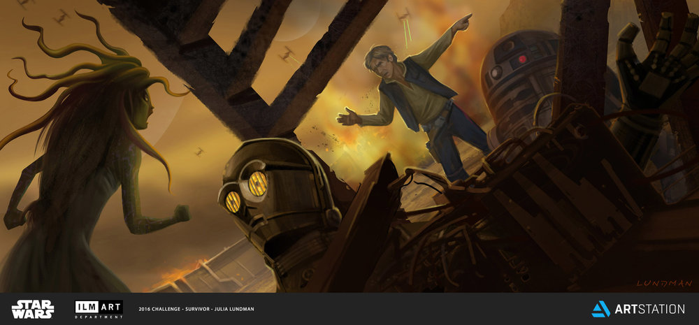 KEYFRAME 7: (FROM SCRIPT PAGES) HAN ARGUES WITH SWANA DURING THE ATTACK WHILE C3P0 IS TRAPPED UNDER DEBRIS. HAN CAN'T BELIEVE NOT ONLY THAT SWANA LEFT THE SHIP, BUT THAT SHE WAS ABOUT TO LEAVE C3PO PINNED UNDER DEBRIS ON THE BATTLE FIELD! UNKNOWN TO HAN, SWANA HAS AN INCREDIBLE DRIVE TO TRY AND RESCUE THE SENTIENT BEINGS THAT INHABIT THE DANJI SHIPS, WHICH WHERE DESTROYED IN THE ATTACK.