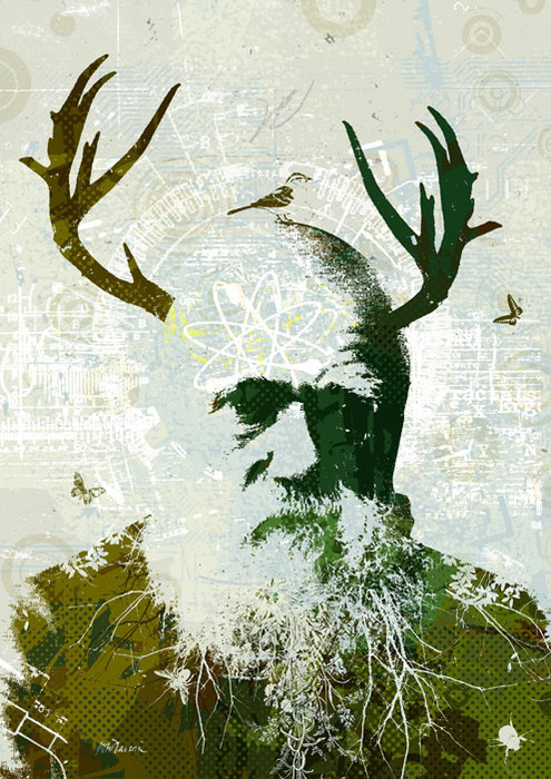 a portrait of darwin for the new humanist
