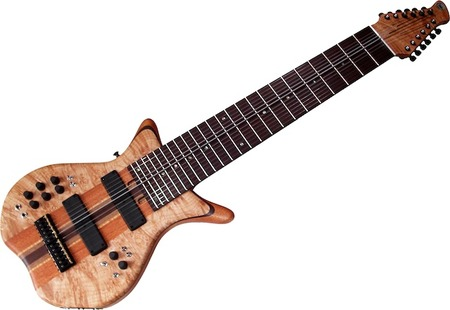 Warr TGSS 12-String Neck-Thru Mahogany / Curly Maple / Walnut / Wenge neck Mahogany body wings Quilted Maple cavity covers Quilted Maple rear headstock laminate