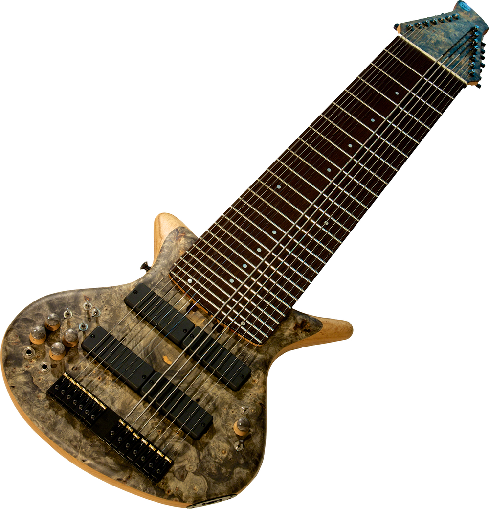 Warr Phalanx 14-String  14 Piezo / 6 MIDI Buckeye Burl top on a Swamp Ash body core Wenge fingerboard Mahogany/Wenge neck