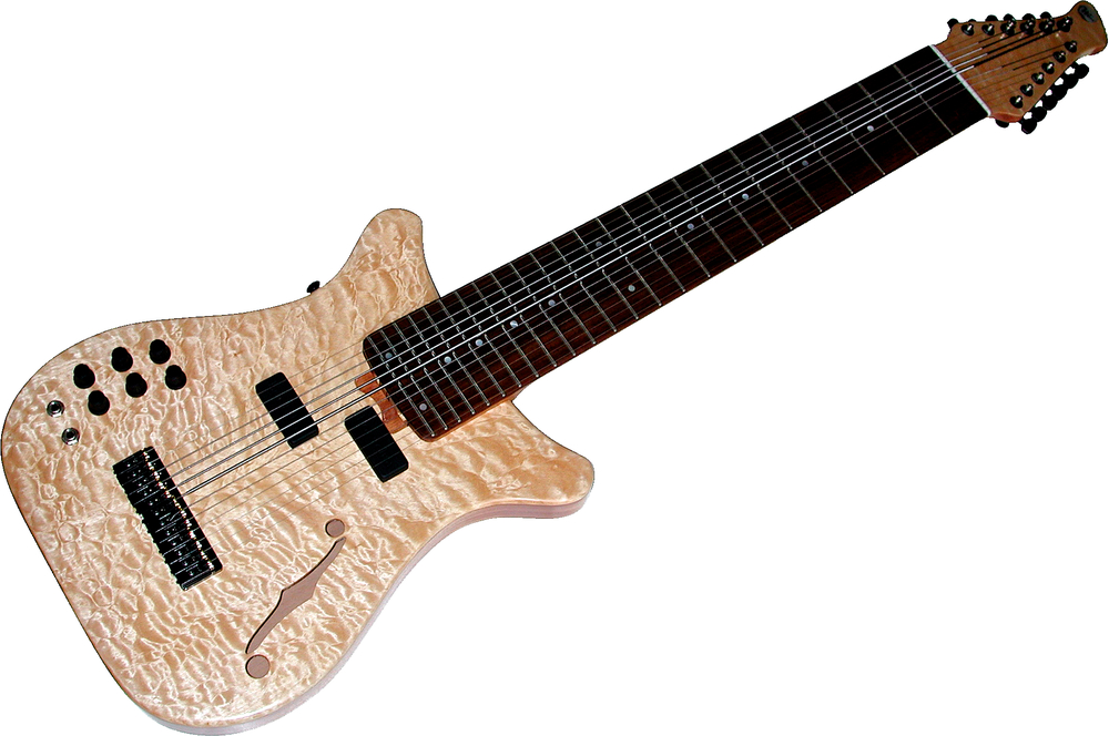 Warr Artisan Semi-Hollow Body 12-String 12 Piezo with floating magnetic pickups Quilted Maple top on an Alder body core