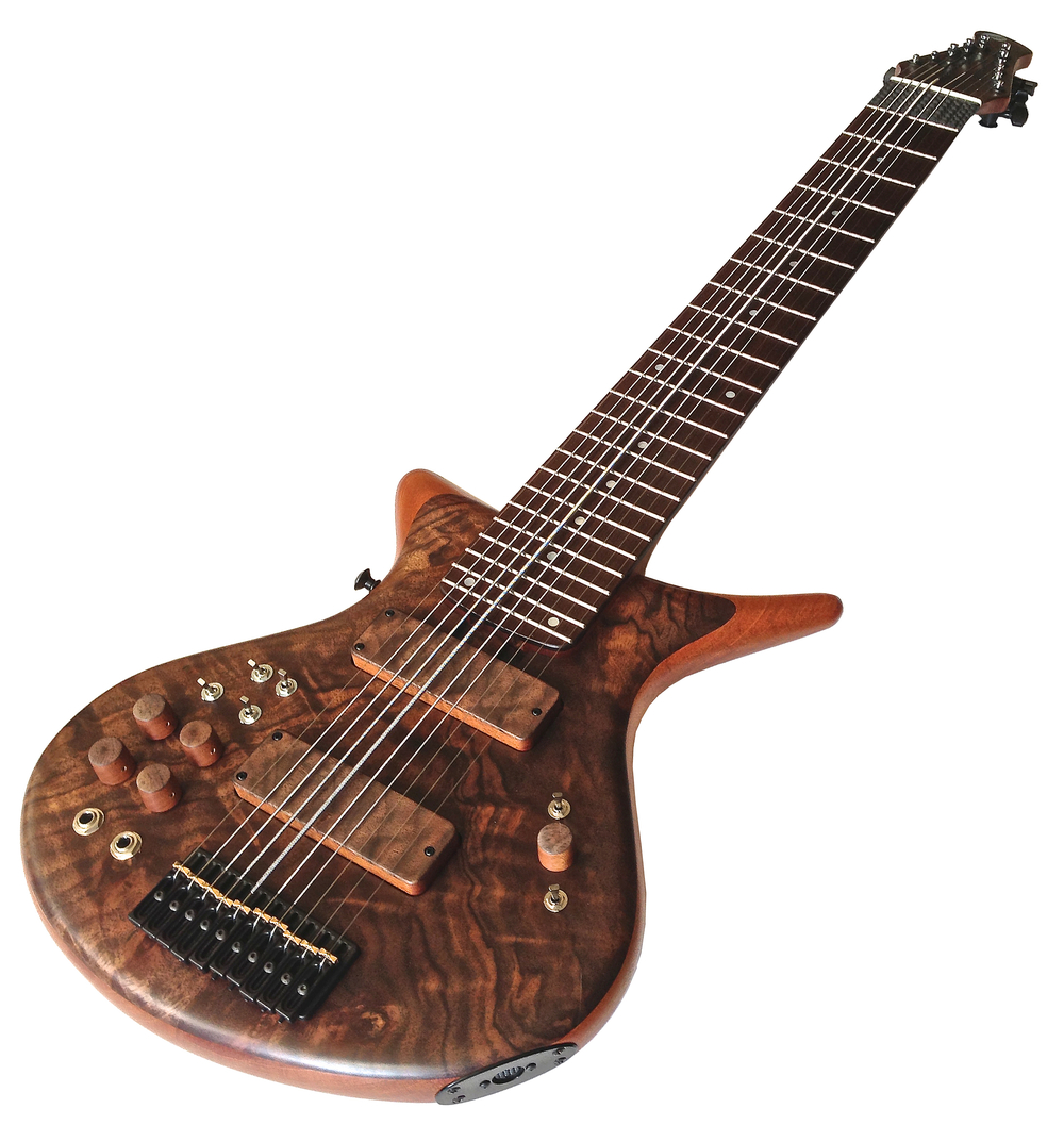 Warr Artist 10-String 10 Piezo / 5 MIDI Curly Walnut Top on a Mahogany body core Pau Ferro fingerboard Mahogany/Walnut neck Warr custom hand-wound pickups Wood pickup shells and knobs