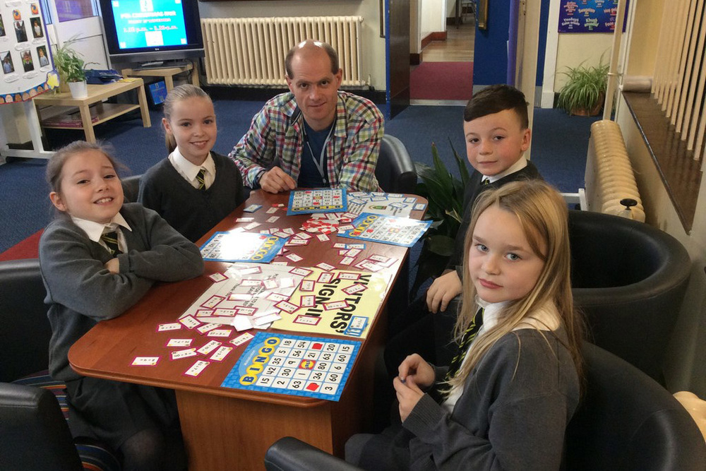 P5 Enjoying maths games — Holywood Primary School