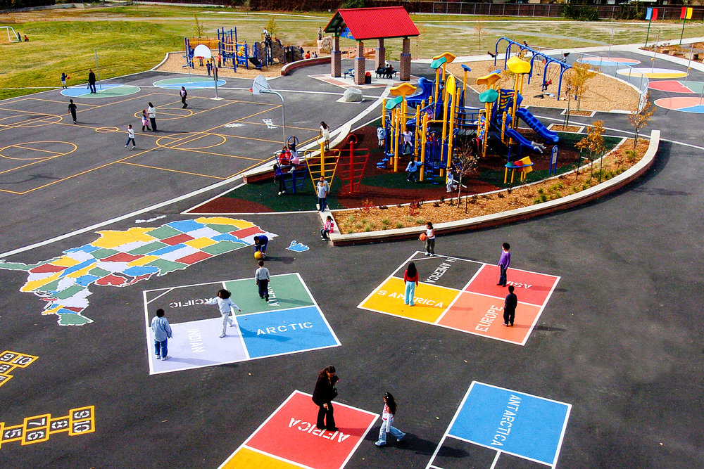 School playground learning landscape kids creative