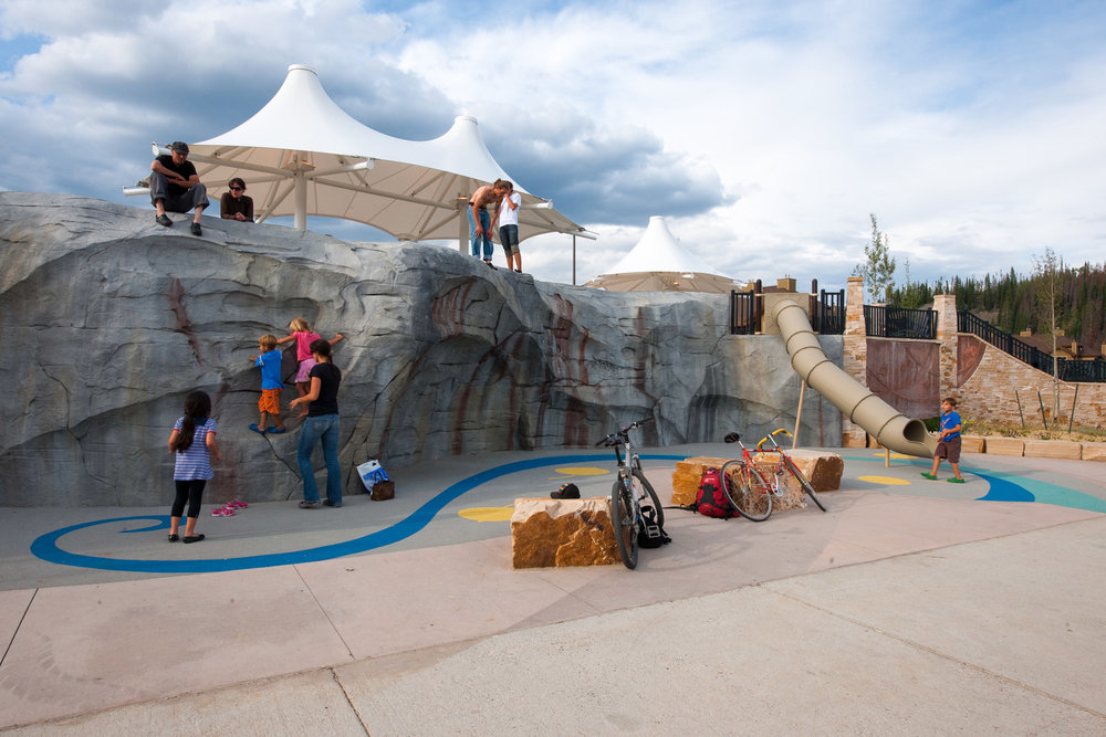 Custom climbing wall at Hideaway Park