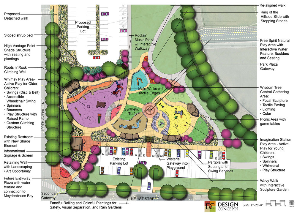 Site plan rendering of Bellevue's Inclusive Inspiration Playground
