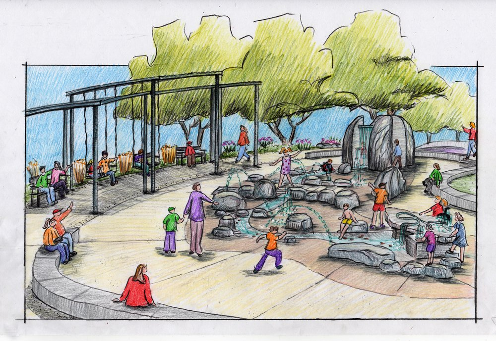 Hand sketch drawings of one of the play spaces at Inspiration Playground