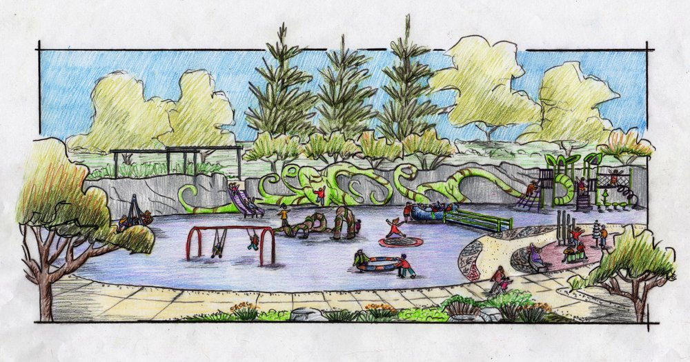 Hand sketch of an inclusive play area at Inspiration Playground