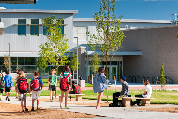 Casey Middle School in Boulder Colorado near Denver LEED Platinum USGBC with playground, synthetic turf field, green roof and sustainable construction