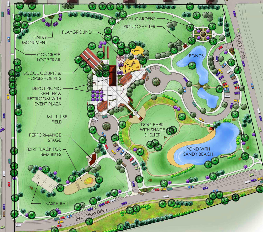 Community Park - The Community Park in Louisville, Colorado, is a good example of arranging multiple uses radiating from a hub. The 11-acre downtown park features a central civic plaza, picnic pavilion, and playground area that link other elements such as a dog park, basketball courts, a performance amphitheater, and a multipurpose field. Louisville residents wanted a community space for walking while keeping tabs on one child at the playground and another at the BMX dirt-bike hill. They wanted to play bocce or horseshoes, or merely watch these games from the covered pavilion. Visitors find more activity areas clustered nearer the center and fewer activities at the edges of the park. This layout allows park visitors to choose either active or pastoral space, or somewhere in between.