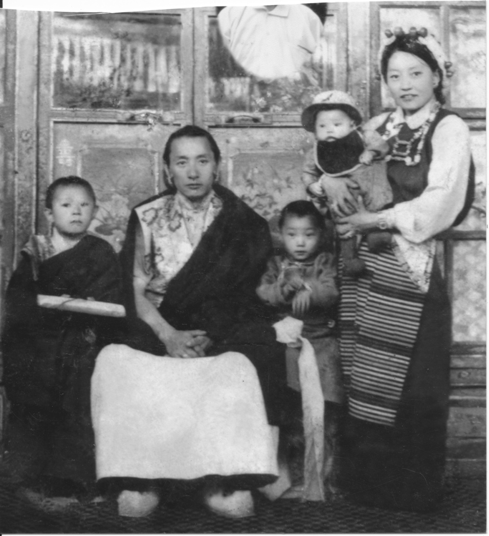 Dagmola with Dagchen Rinpoche and their three eldest sons in Lhasa, Tibet, 1959, shortly before their escape