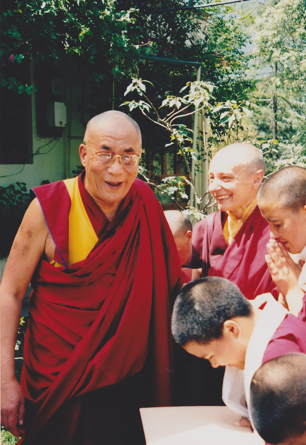 His Holiness the Dalai Lama with Jetsunma and her nuns