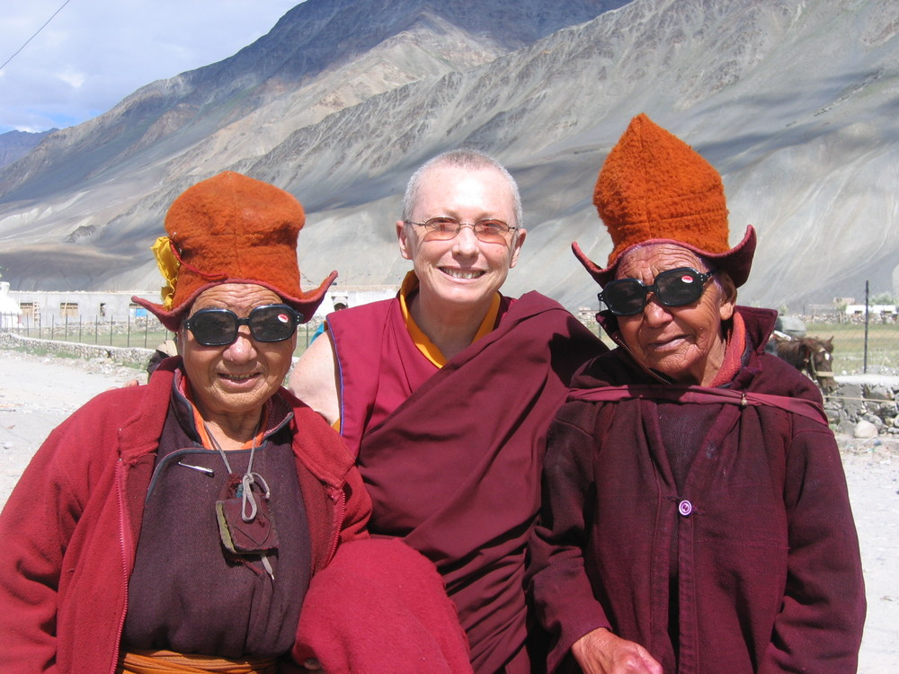 Karma Lekshe Tsomo with two Ladakhi women in Ladakh