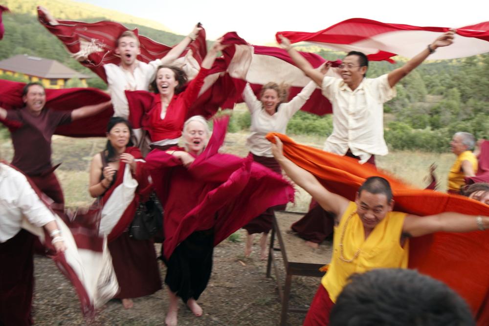 Lama Tsultrim Allione with her students at Tara Mandala in Colorado