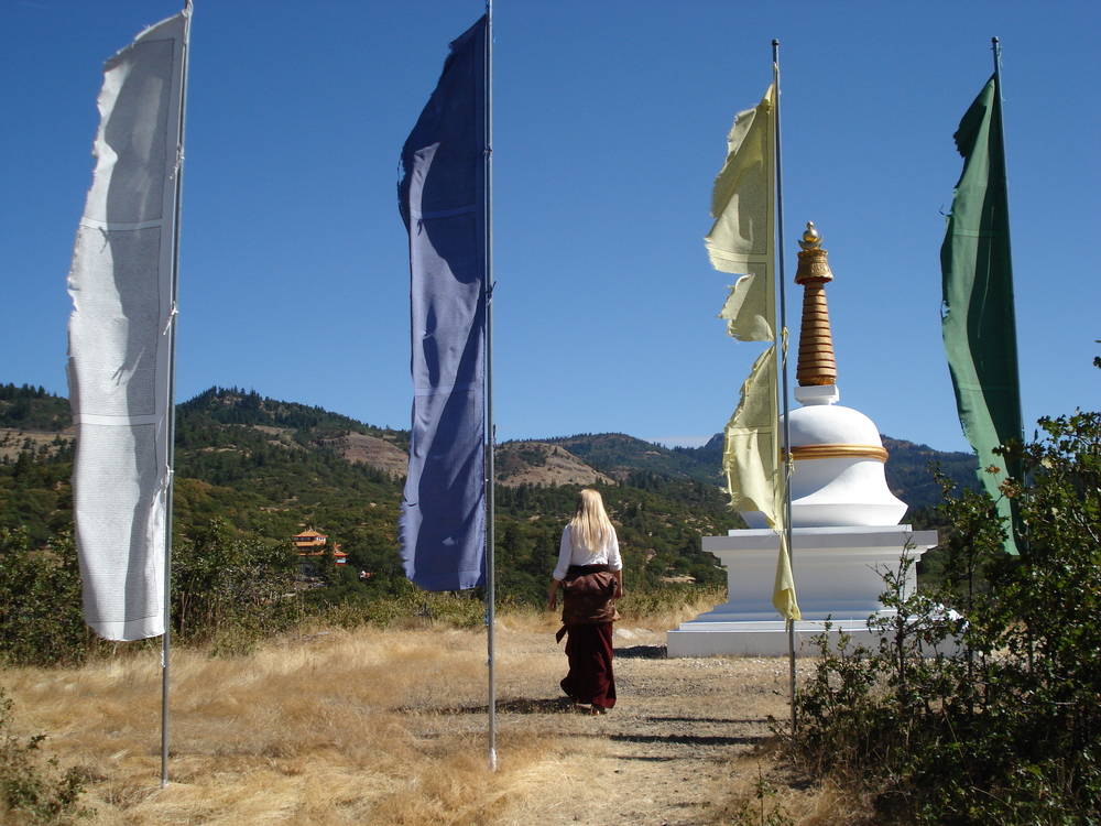 Sangye Khandro on her retreat land in Oregon