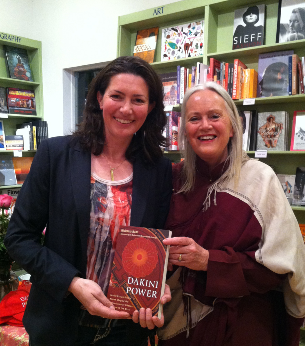 Lama Tsultrim Allione and author Michaela Haas at the book launch at Diesel Malibu, April 2013
