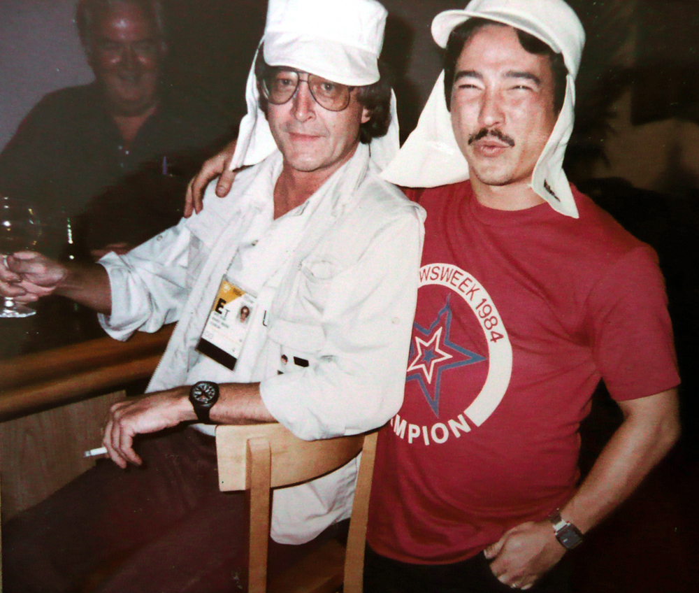 "John ""Willie"" Whelan in the background, Dave ""The Coach,"" Wyland sitting and myself, 1984 Olympics, Los Angeles."