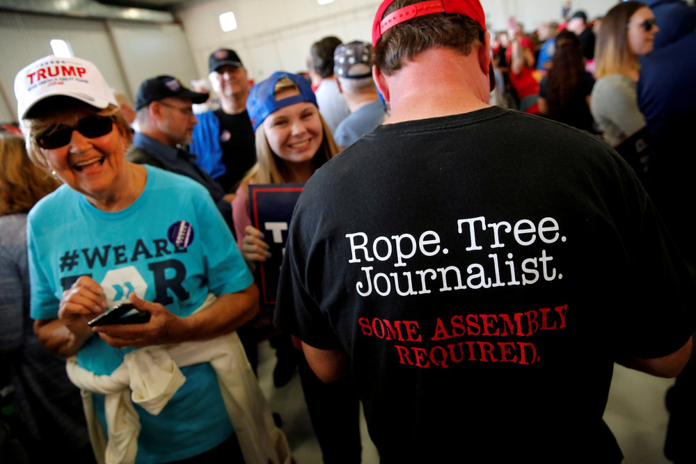 """Enemy of the people."" At a Trump campaign rally in November, 2016.  Jonathan Ernst/Reuters via ZUMA Press"