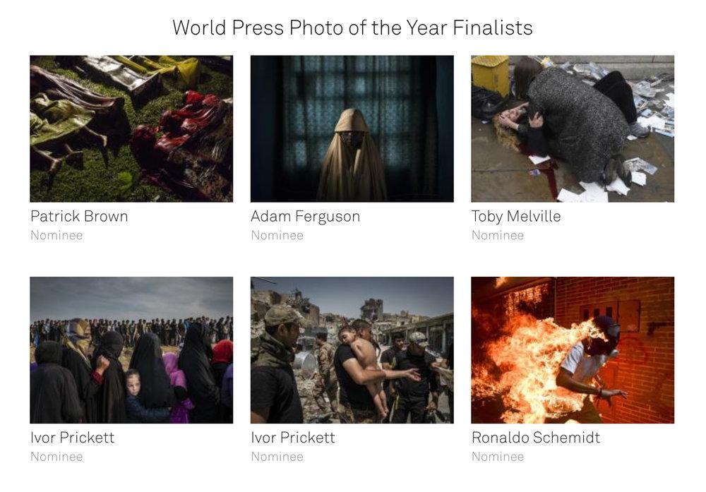 The six World Press Photo of the Year 2018 finalists.  Credit: World Press Photo