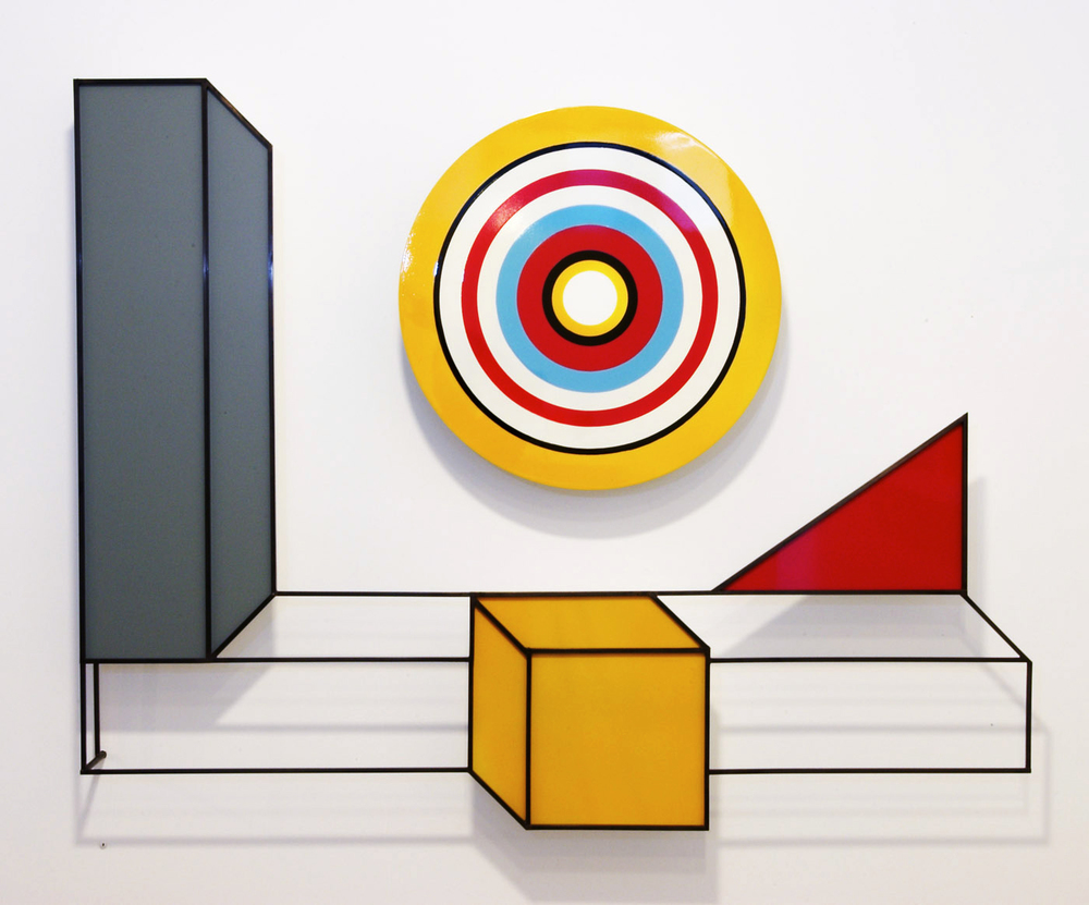 'Primary Target' 2006 (2x elements) / Materials: Painted brass & aluminium / Size: 95cm x 130cm x 12cm / Price: $15,000  /   Purchase
