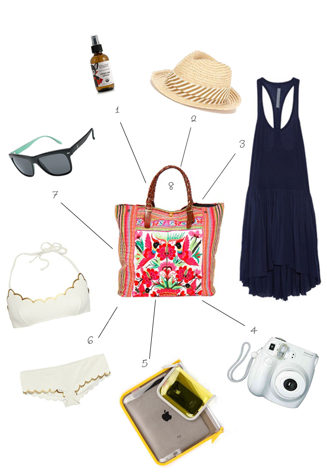 1. Bug repellent perfume spray| 2. Cute beach hat| 3. Light flowy cover-up 4. Compact Polaroid camera|5. Zippered tech bags| 6. A hot swimsuit 7. Cute sunglasses| 8. Tropical tote