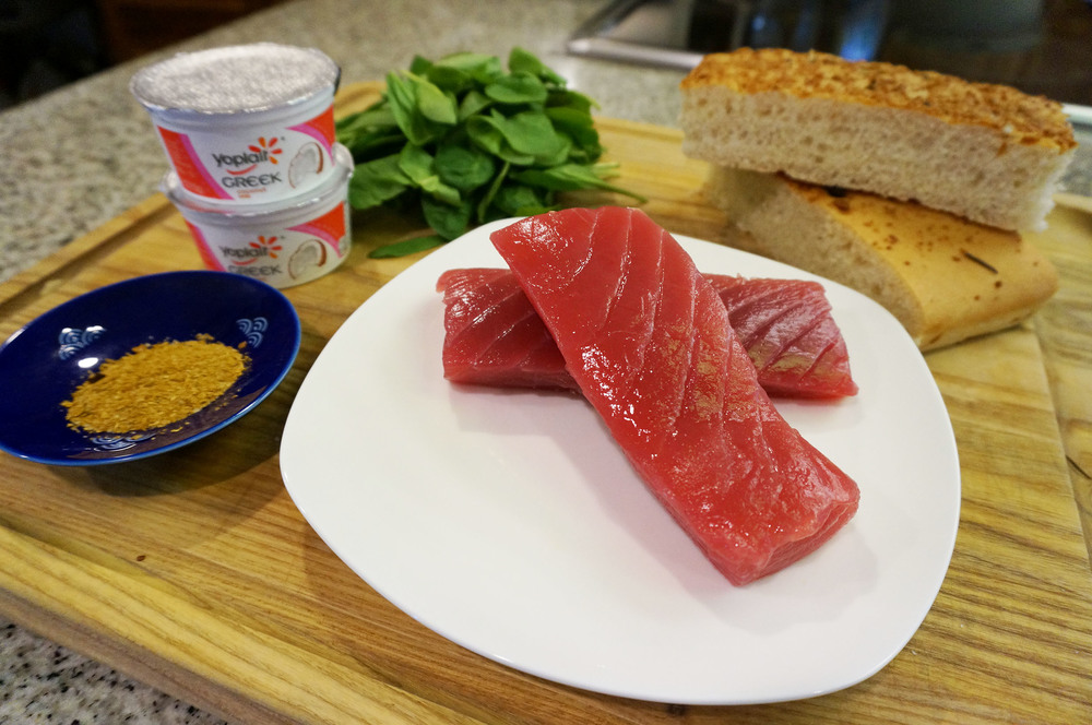 Curried Seared Ahi Sandwich ingredients