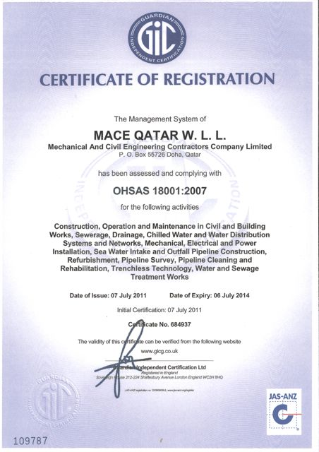 ISO 18001:2007 Certification Certificate No. 684937