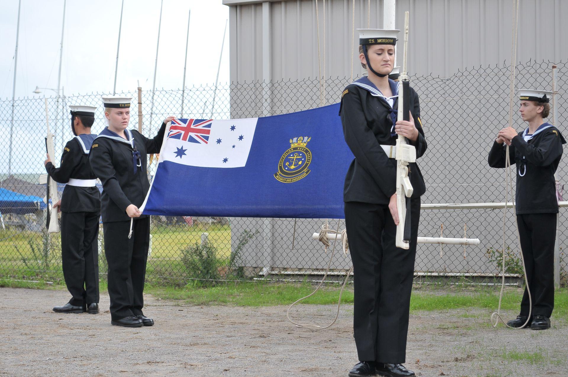 Folding the flag for the ceremonial sunsetsml