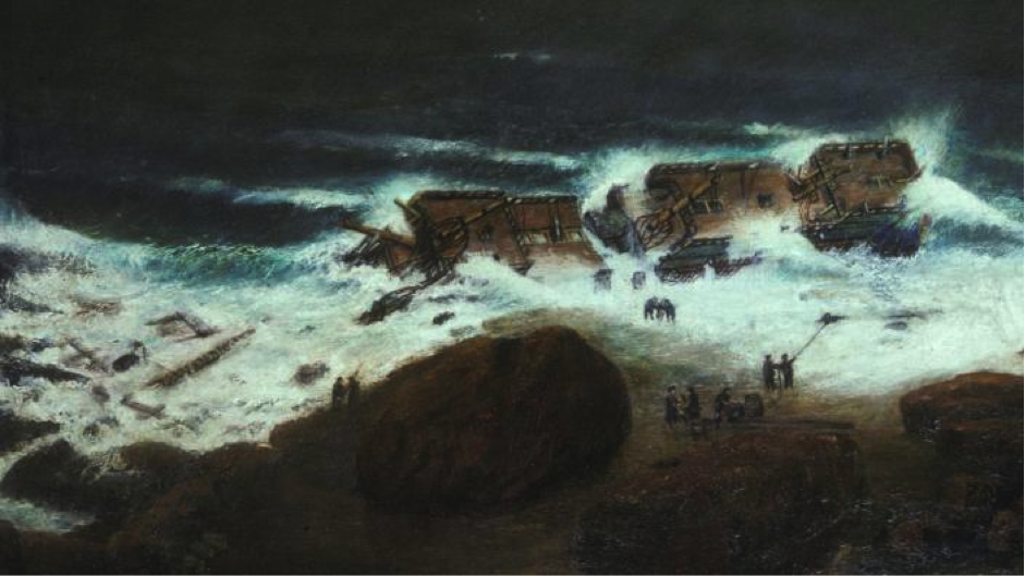 Picture: An impression of the Zuytdorp ashore. Artwork by Stanley Hewitt (WA Museum).