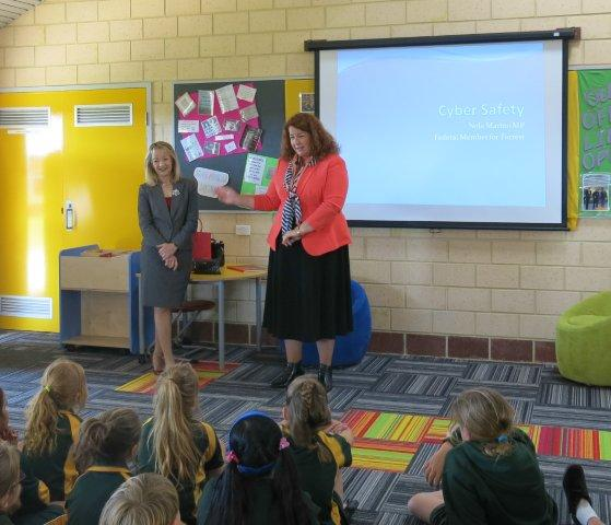 Allendale Primary School, Melissa Price Federal Member for Durack, Nola Marino Federal Member for Forrest, at Allendale Primary School where 110 students participated in the cyberbullying workshop.