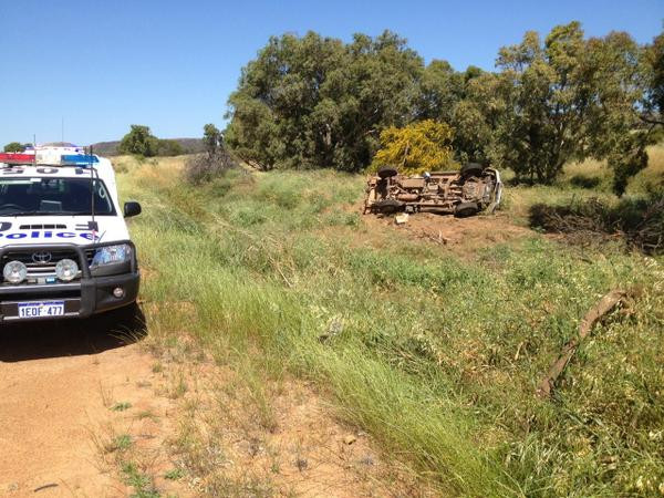 "Geraldton Police on Twitter: ""Chapman Valley Road crash- crumpled mess in the trees used to be a Mazda ute! Alcohol suspected- don't drink + drive."""