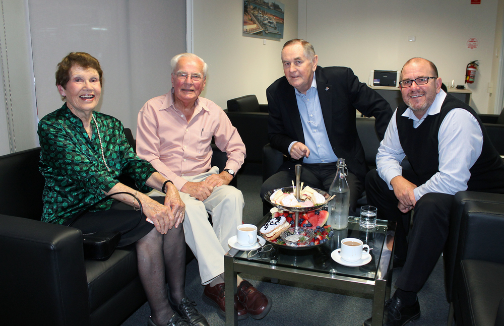 Anne and John Luk enjoy afternoon tea with Mayor Ian Carpenter and City CEO Ken Diehm