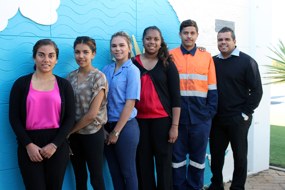 SMYL Trainees Zemma Connell, Talecah Clayton, Tiffany Collard, Zamaria Councillor (Western Australian Country Health Services Midwest) and Maitland Spratt with SMYL Aboriginal Group Training Manager, Ashley Garlett.