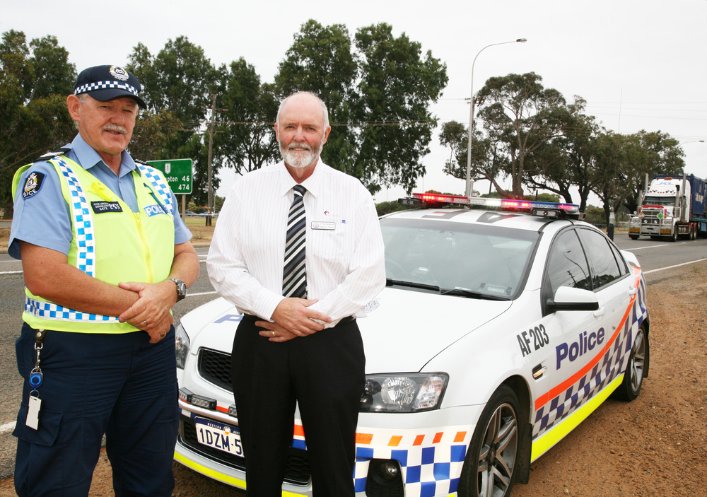 Police District Traffic Coordinator, Sergeant Peter Janczyk, with City of Greater Geraldton Deputy Mayor, Neil McIlwaine.