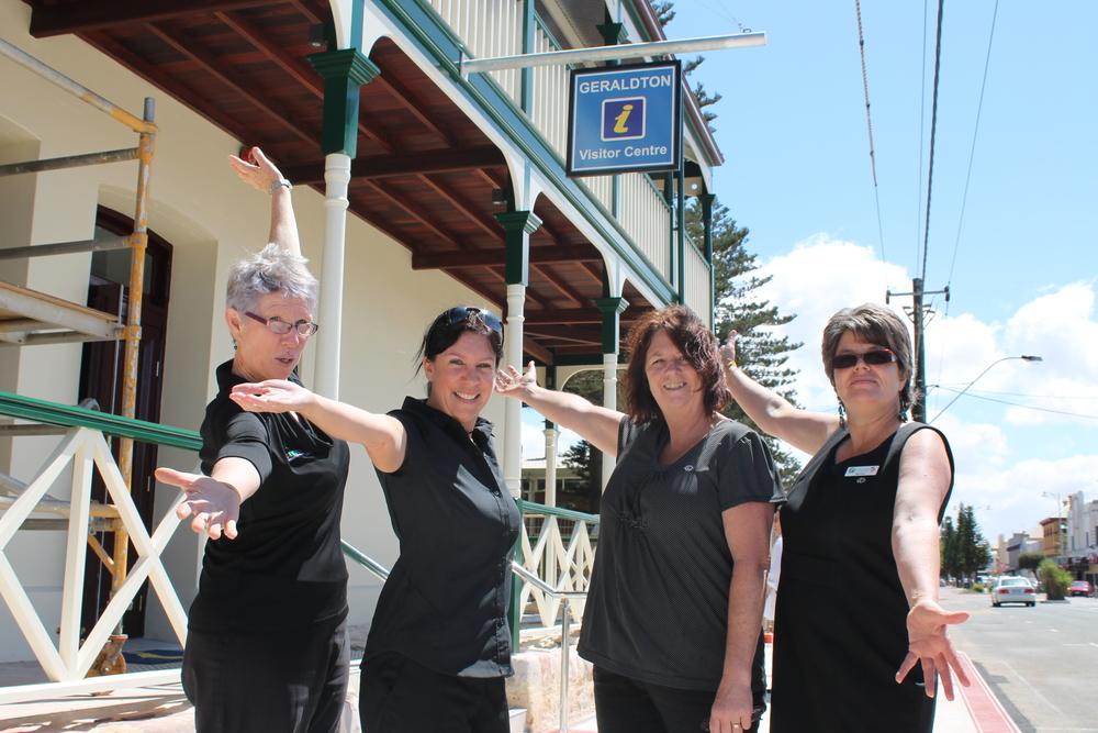 Geraldton Visitor Centre's Glenda Blyth, Rebecca Tuesley, Jenny Bunter and Myriam Glorieux.