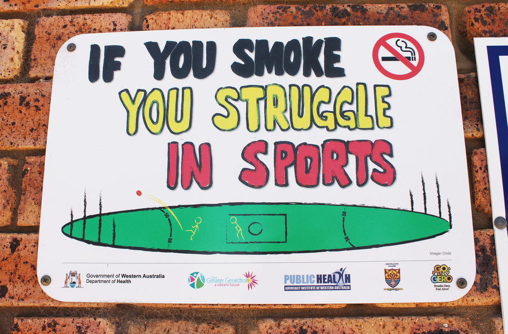 "This is just one of the 100 ""no smoking"" signs around Geraldton."