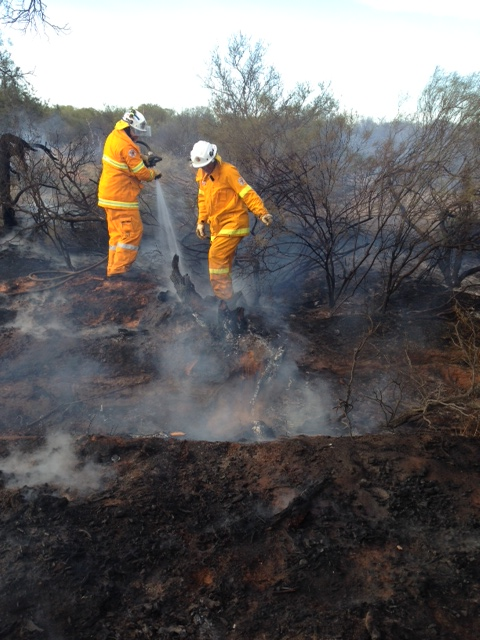Volunteer firefighters from the Mullewa Central and Tenindewa Volunteer Bushfire Brigade extinguish a fire on Christmas Eve.